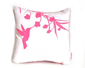 Hot Pink Print on Off White Cotton Hummingbird with Eucalyptus - Mini 10.5 Inches Square Pillow