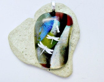 Fused Dichroic Glass Pendant - White Dragonflies Brown Blue with Aqua Dichroic Glass Pendant