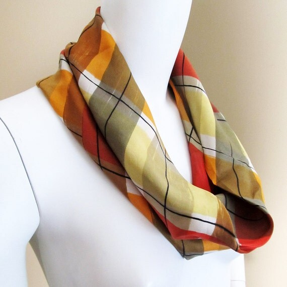 Vintage 1960s SILK Plaid CIRCLE Cowl SCARF Accessory - Fall Colors - Made in Japan