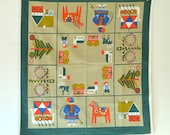 vintage mid century Scandinavian dala horse holiday tablecloth / wall hanging