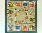 vintage mid century Scandinavian dala horse holiday tablecloth / wall hanging