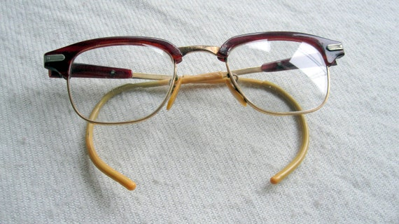 Eyeglass Frames Hurt Ear : REDUCED Rusty Red Browline Eyeglasses with Ear Hooks