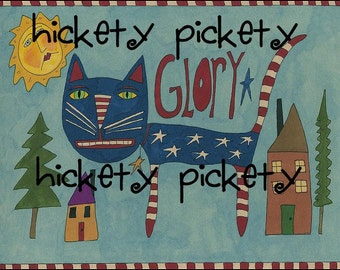 Primitive Folk Painting Americana Liberty Cat Glory July 4th Greeting Card  Whimsical  Folkart  to Download by Hickety Pickety