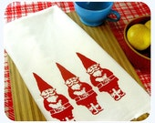 Gnome Kitchen Towel Red Gnomes Tea Towel CUTE kitchen towels screen print retro Indie Housewares Woodland Gifts