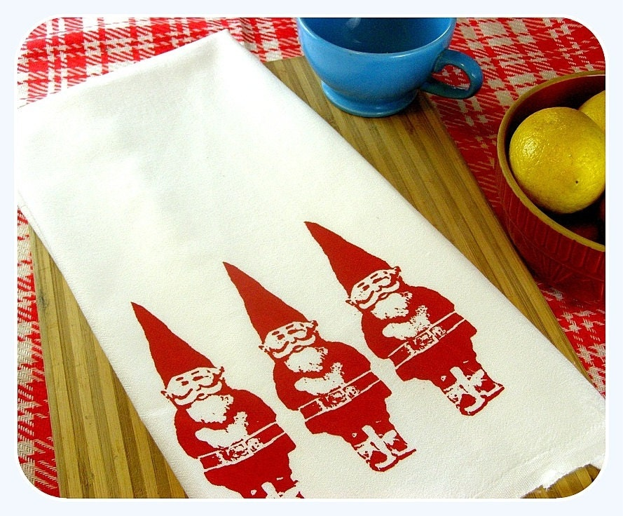 Gnome Kitchen Towel Red Gnomes Tea Towel Cute Kitchen Towels