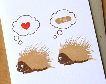 Porcupine love - letterpress card