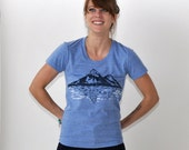 Twin Peaks, Mountainous Design, Lt. Blue Tri-Blend Tee, Hand Screen Printed by Maryink