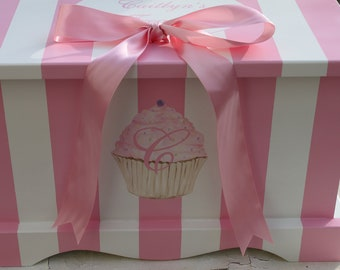 Baby Keepsake Chest Baby Memory Box - girl- Pink Stripe Cupcake hand painted personalized baby girl gift