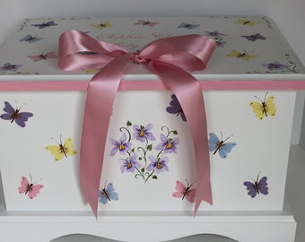 Baby keepsake box baby keepsake chest Pink Butterfly & Violets with bow memory box hand painted personalized baby girl gift