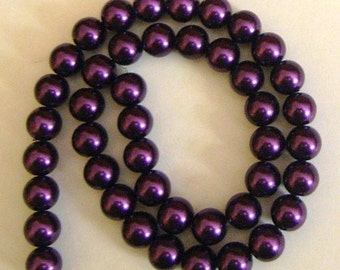 10mm Elegant True Deep Purple Glass Pearls 44pcs