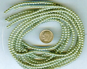 3mm Elegant Sage Green Glass Pearls 50 pcs
