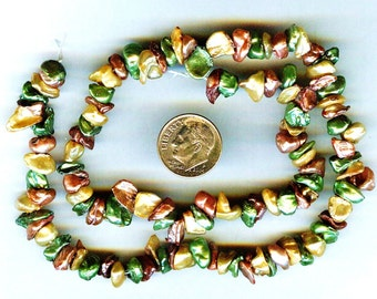 Autumn Gold Keishi Pearls Center Drilled Mint, Mauve, Gold 8""
