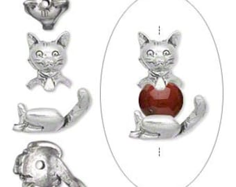 Precious Kitty Cat Antique Silver 2 pc Bead Cap Set Pewter 19mm 1 set