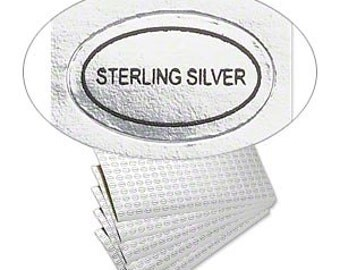 """Classy Silver Adhesive Oval Labels """"Sterling Silver."""" 1/2x5/16"""" 50pcs"""