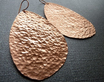 Large Hammered Copper Earrings