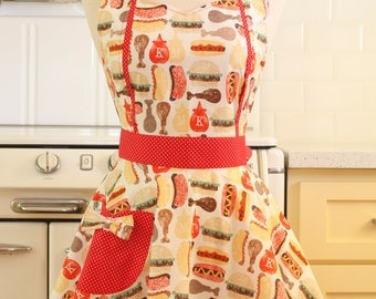 Retro Apron Hot Dog and Hamburger