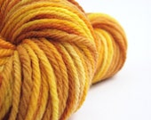 Light worsted pure merino wool, hand-dyed DK, double knitting 8ply crochet yarn, 100grams, Perran Yarns, Barley Fields, gold yellow saffron