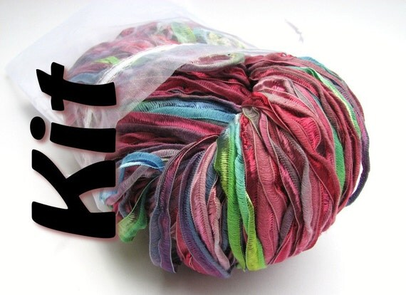 DIY craft kit, Easy knitting kit, Ripple Drop-Stitch Scarf pattern and Colinette Giotto ribbon yarn, easy written instructions, Florentina