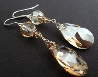 HEART OF GOLD golden shadow long drop bridesmaid earrings with sterling silver chain.  Vintage style.  Wedding jewelry.