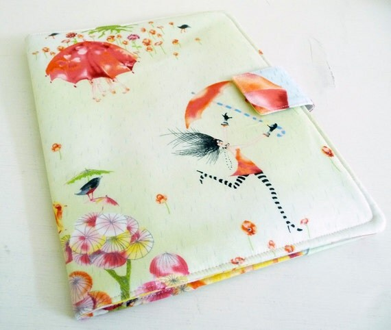 Ipad 2, 3 or 4 Cover Case- Rainy Spring Day, girl with umbrella