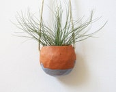 SALE - Terracotta hanging ceramic pinch pot planter with ice blue glaze - perfect for air plant, succulent or cactus