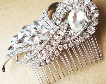 Statement Bridal Hair Comb, Crystal Wedding Hair Comb, Art Deco Hair Piece, Wedding Bridal Hair Accessories, BRIDGETTE