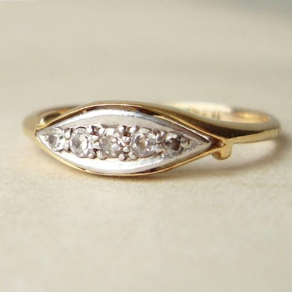Antique Engagement Ring, Antique Diamond Ring, Vintage Art Deco Diamond Wedding Ring, 18k Gold Wedding Ring Size US 7.25