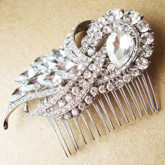 Statement Bridal Hair Comb, Crystal Wedding Hair Comb, Art Deco Hair Piece, Wedding Bridal Hair Accessories, BRIDGETTE