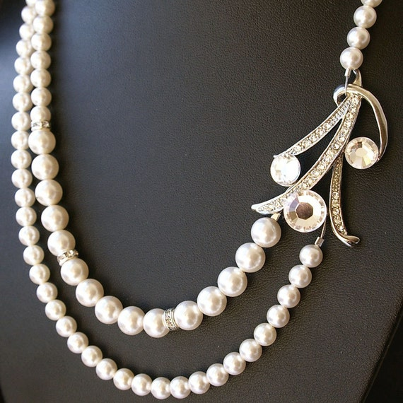 Pearl Necklace Styles: Art Deco Style Bridal Necklace Wedding Jewelry Pearl Bridal