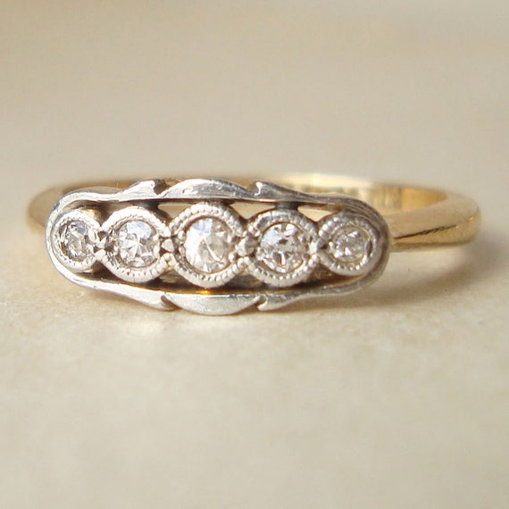 Art Deco Platinum and 18k Gold Diamond Ring, Antique Edwardian Diamond 18k Gold Engagement Wedding Ring Approximate Size US 6