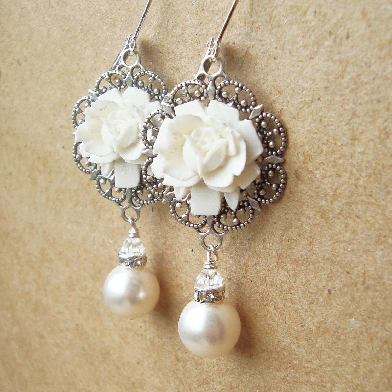 Vintage Style Earrings: White Rose Bridal Earrings Vintage Style Pearl Wedding
