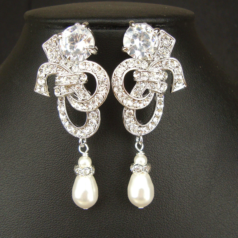 Vintage Style Earrings: Crystal & Pearl Bridal Earrings Vintage Inspired Bridal