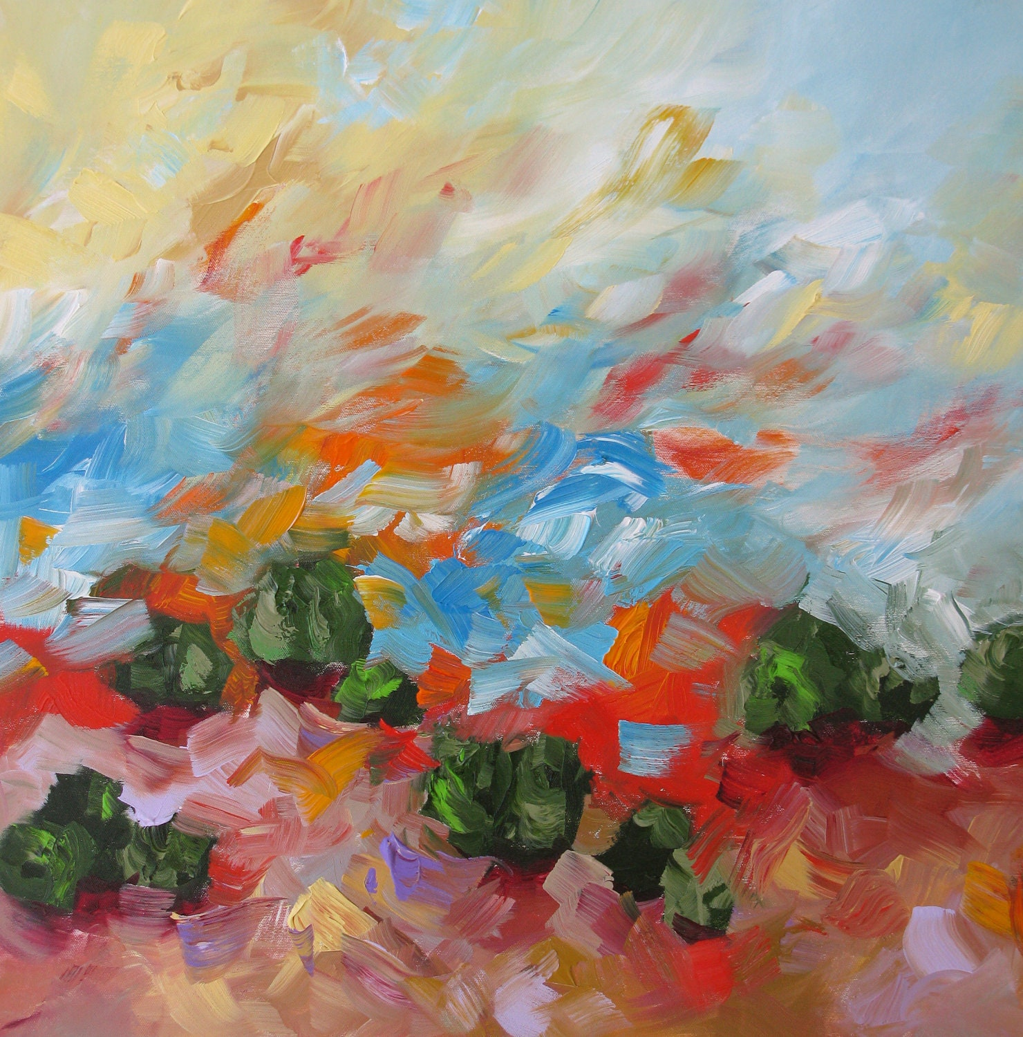 Print of abstract landscape acrylic painting by lindamonfort for Abstract painting in acrylic