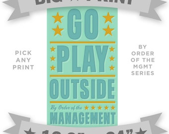 """BIG PRINT- Large Print Art for Kids Room- Order of the Management- 13.9"""" x 24""""- Pick A Print for Playroom- Kid Bathroom Rules- Kitchen Print"""
