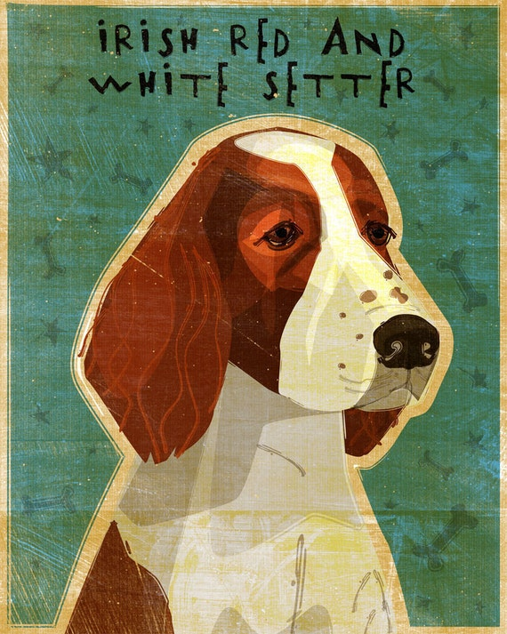 """Irish Red and White Setter - Print 8"""" x 10""""- Dog Wall Decor- Irish Red and White Setter Art- Irish Red and White Setter Gifts- for Grandpa"""