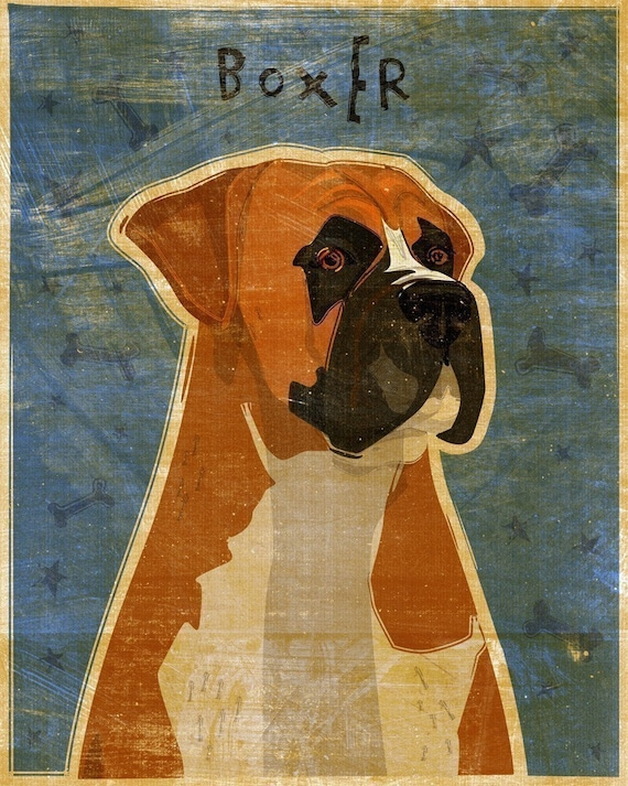 """Boxer Print 8"""" x 10""""- Whimsical Dog Art Print- Dog Wall Decor- Boxer art- Dog Print- Boxer Dog Gifts- Dog Lovers Gifts- For Dog Owners Gifts"""