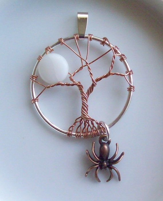 Tree of Life Pendant Necklace Autumn Moon Spider Halloween Wire Silver Copper Necklace