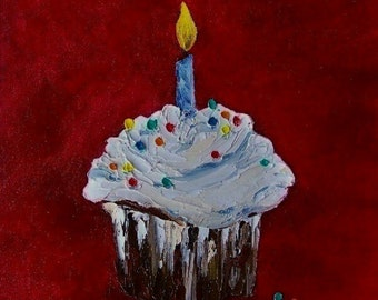 Cupcake Commission Your Original Oil Painting Bakery Cupcakes Art by California Artist Debra Alouise