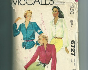 Vintage McCall's Misses' Blouses Pattern 6727