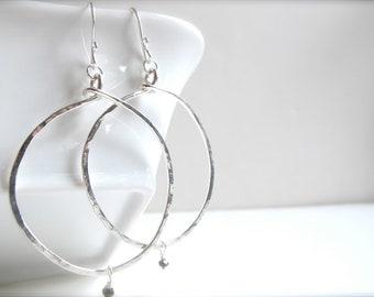 Medium Hammered Hoop Earrings with Pyrite Fools Gold