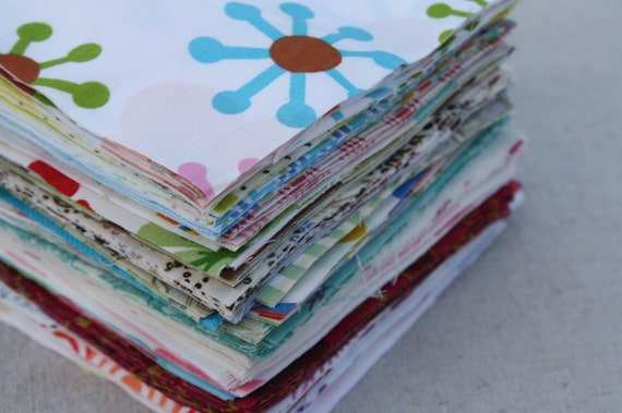 180 Reclaimed  Bed Linen Quilt Squares- The Eclectic Fun Stash Builder