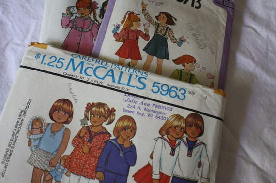 Vintage Little Girl Patterns-Size 4-Simplicity and McCalls