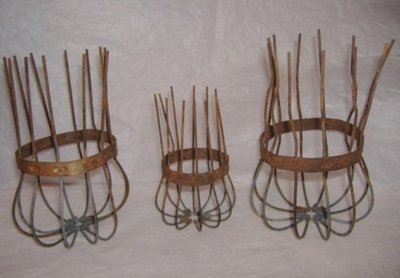 Three Primitive Wire Gutter Guard Baskets.  Small medium large.
