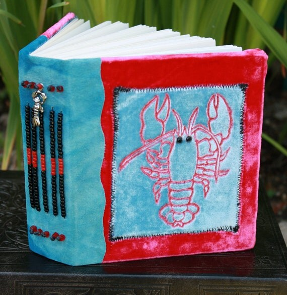 LOBSTER Blank Art Journal (Inspired by Phoebe from Friend's) Red Blue Velvet Blue Leather Beaded Spine with Lobster Charm