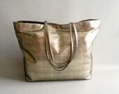 Gold Metallic Shoulder Tote Bag