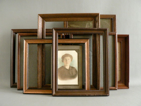 Vintage Wood Picture Frames, set of Eight Brown Wall Gallery Frames