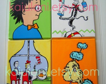 Dr. Seuss Kids Painting Boys Nursery Wall Art  - set of 4 stretched canvases