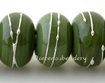 Lampwork Glass Beads OLIVE GREEN with fine SILVER Wire Wraps - Handmade - taneres