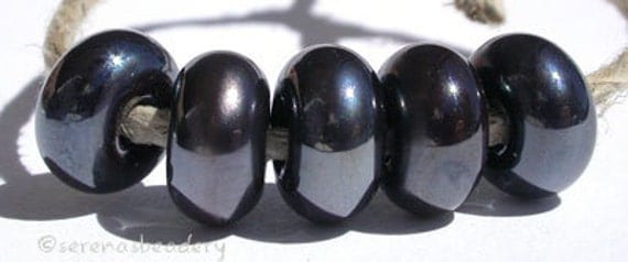 Lampwork Glass Spacer Bead 5 Metallic Super SILVERY PLUM Glossy & Matte Handmade Donut Rondelle