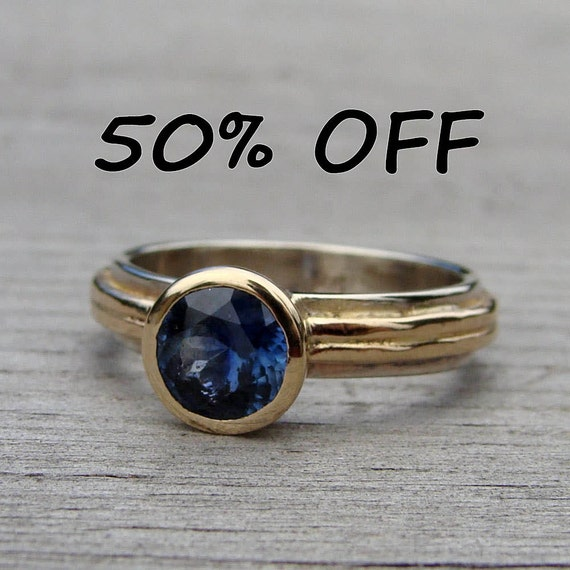 CLEARANCE - Fair Trade Montana Sapphire, Recycled 14k Yellow Gold, and Recycled 14k White Gold Ring, size 6 - Wedding or Engagement